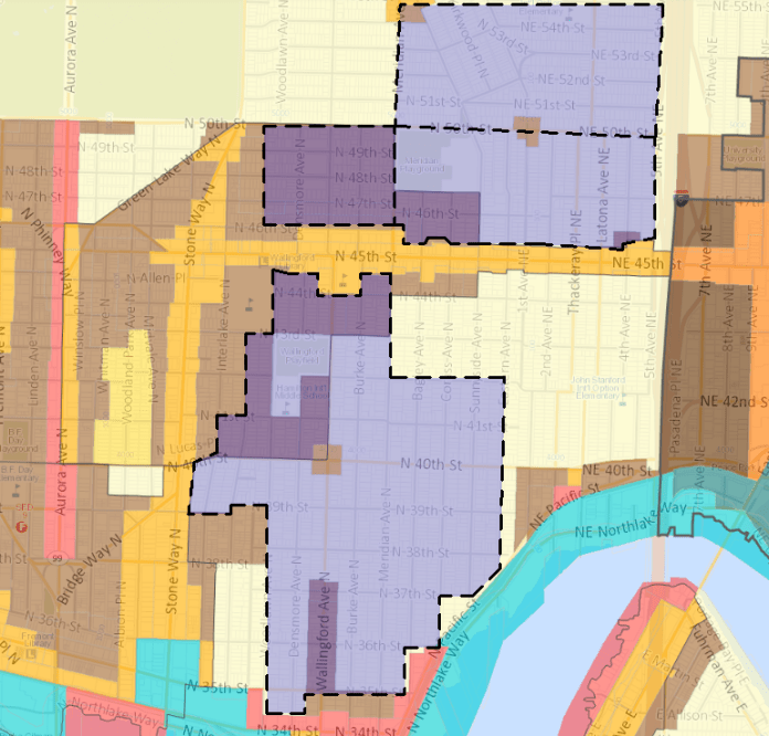 The proposed historic district overlaid on the zoning map (yellow = single-family zoning).