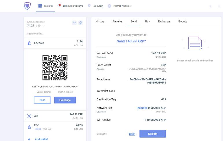 Confirmation screen on Guarda wallet