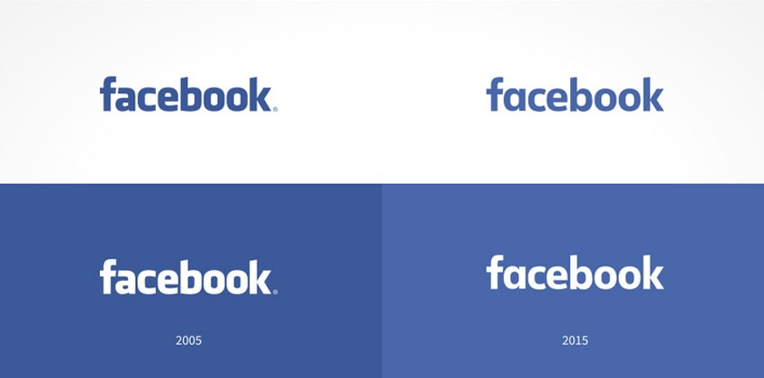 Facebook logo 2005 and 2015 versions