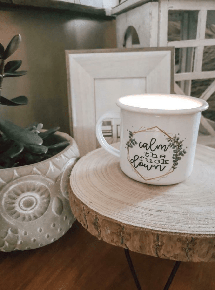 Stay calm with a mug from Mei Designs