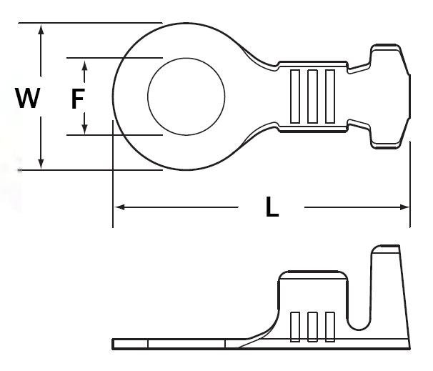 RL050-03B9L | Open Barrel Ring Terminal