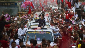 Aung San Suu Kyi amongst her supporters after victory for National League for Democracy at the November 2015 elections. (Reuters)