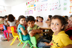 Syrian children attending classes in a child-friendly space set up by UNICEF and Intersos https://flic.kr/p/ph4U7e