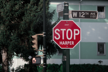 "the infamous ""Stop Harper"" signs that popped up all over the country in 2015 https://flic.kr/p/pwjuTH"