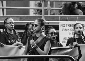 A demonstrator for Black Lives Matter protests at Toronto's Trans March in 2016. https://flic.kr/p/Jjk2Tb