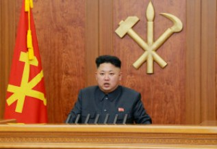 "North Korean leader Kim Jong Un delivers a speech during his New Year address in this undated photo, released by Kyodo January 1, 2014. Kim made his first reference to the execution of his powerful uncle in a New Year's address, saying the reclusive state's ruling party had become stronger after it was purged of ""factional filth."" And as he called for better relations with South Korea, he warned that another war on the Korean peninsula would cause a massive nuclear disaster that would hit the United States. Mandatory credit REUTERS/Kyodo (NORTH KOREA - Tags: POLITICS) FOR EDITORIAL USE ONLY. NOT FOR SALE FOR MARKETING OR ADVERTISING CAMPAIGNS. THIS IMAGE HAS BEEN SUPPLIED BY A THIRD PARTY. IT IS DISTRIBUTED, EXACTLY AS RECEIVED BY REUTERS, AS A SERVICE TO CLIENTS. MANDATORY CREDIT. JAPAN OUT. NO COMMERCIAL OR EDITORIAL SALES IN JAPAN - RTX16YNU"