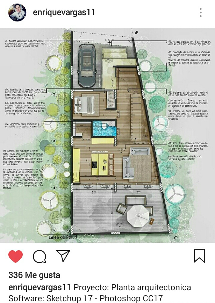 Plano arquitectonico con técnica digital