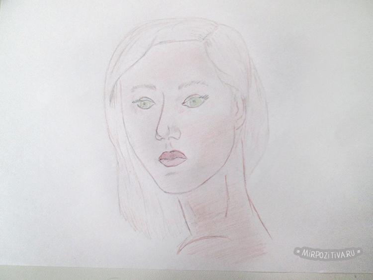 ansikte med färgpennor