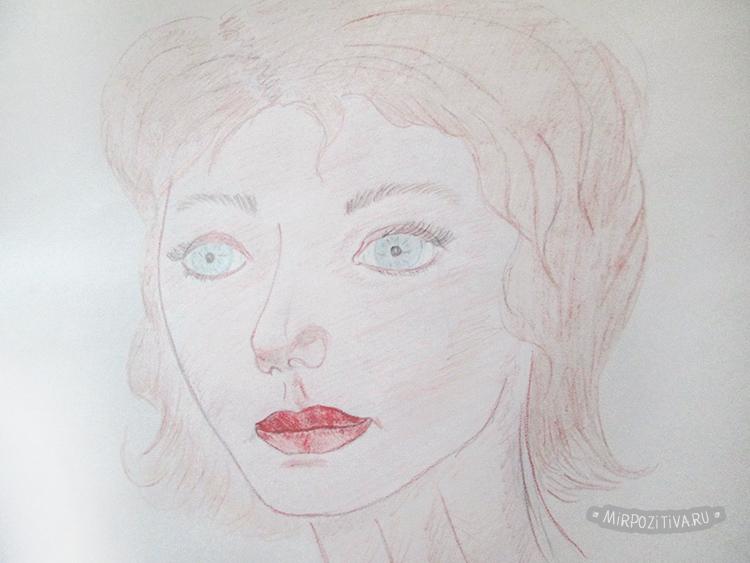 portré színes ceruzákkal