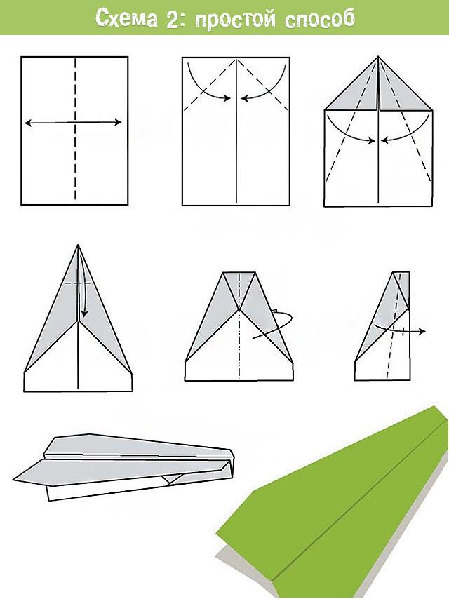 простой самолет из бумаги оригами