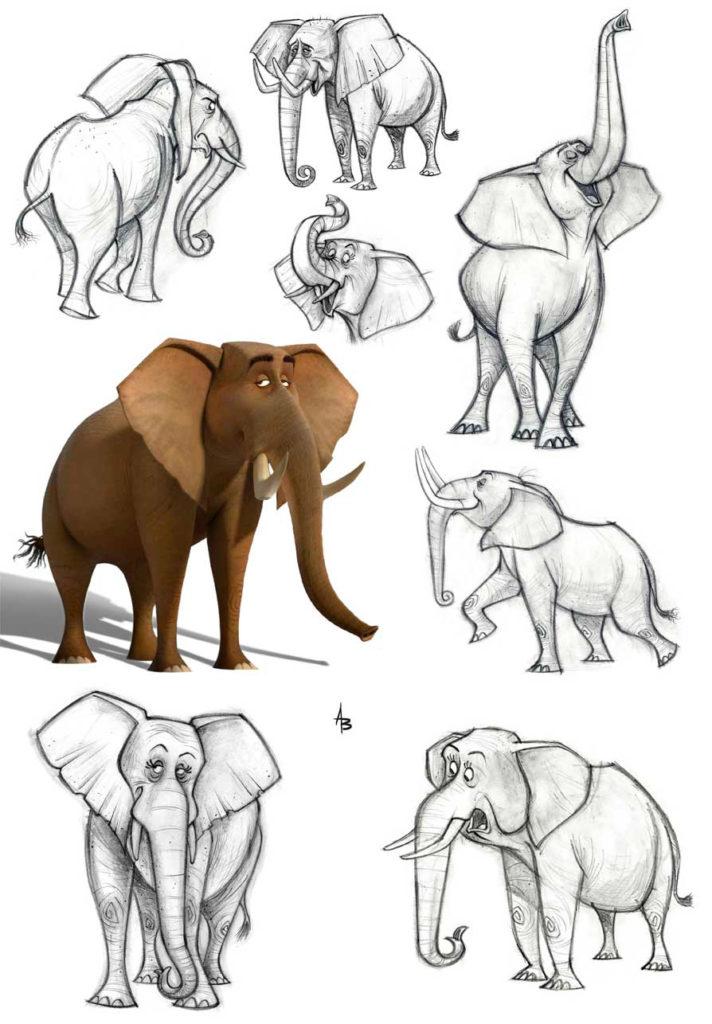 Vázlatok az elefántok különböző pózok