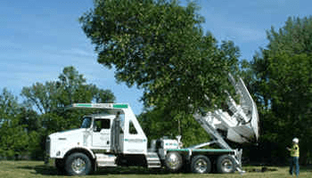 Truck mounted spade creates a hole, self extracts tree by root ball and inserts with precision.