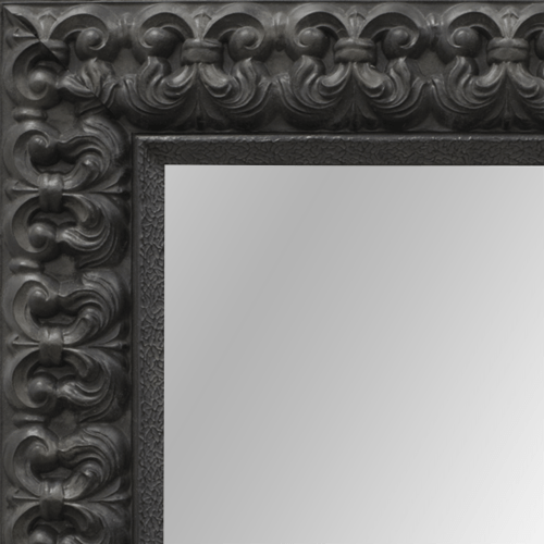 4101 Black Fleur De Lis Framed Mirror