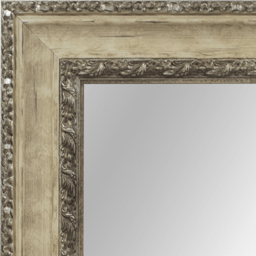 4109 Ivory and Silver Framed Mirror