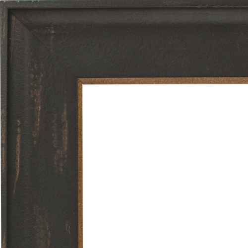 4111 Distressed Black and Gold Mirror Frame