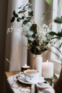 relaxing candle and coffee