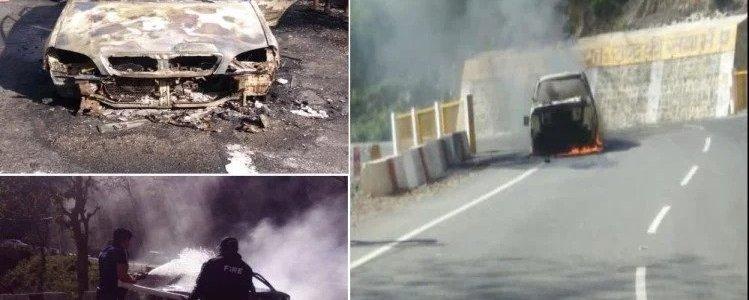 उत्तराखंड :  पहाड़ पर चलती कार में लगी आग, 5 लोग सवार थे इसमें