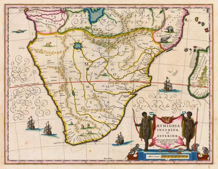 Карта, относящая к Мономотапе всю Южную Африку, 1635