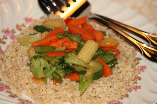 Weekly Photo Challenge: Lunchtime Brown rice with sautéed veggies
