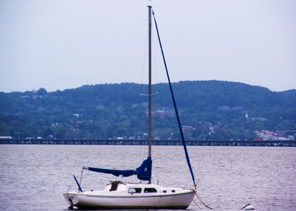 Weekly Photo Challenge: Serenity - A boat anchored on the Hudson River