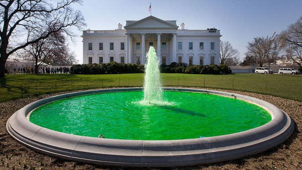 St Patrick's Day: Top 20 Things You Should Know - Green water in fountain