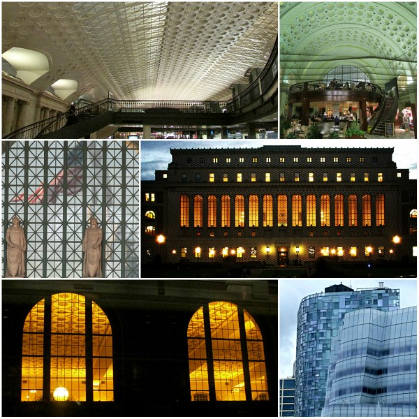 Weekly Photo Challenge: GRID - collage of CU Library in NY, DC Station windows and indoor grid, Unknown Double Station windows shot from train to Virginia