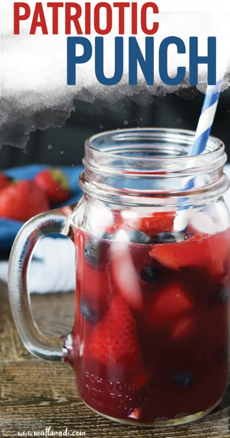 Patriotic Punch - the perfect punch for your outdoor BBQ on Memorial Day or Fourth of July. This delicious non-alcoholic berry punch is perfect for your next party! #punch #memorialday #fourthofjuly #berry #party