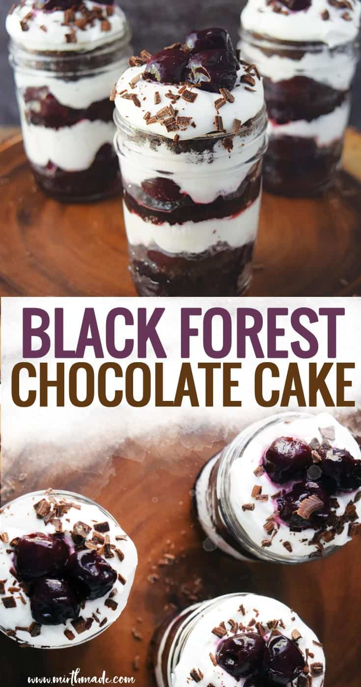 Black Forest Chocolate Cake - This traditional German Schwarzwälder Kirschtorte has been altered to make it an easy recipe anyone can make - and it still combines the chocolate cake, cherries, and rich whipped cream we all love. (And its a cake mix recipe that fits the cake in a jar!!)  #dessert #cake #cherries #cakemixrecipe