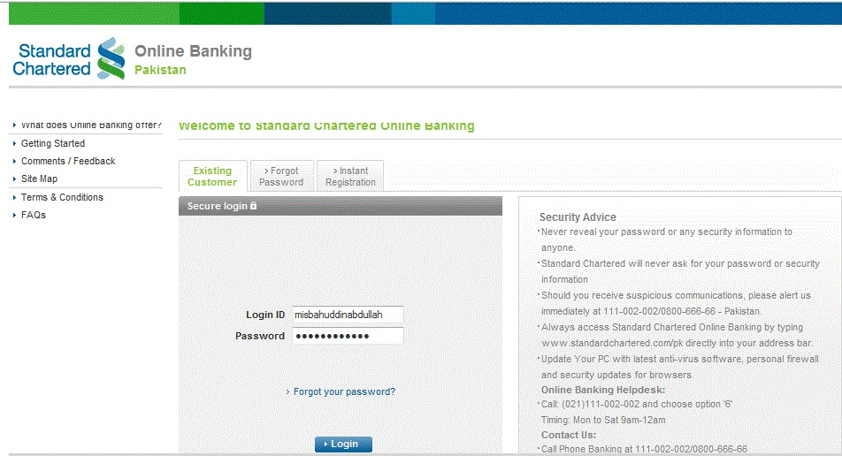 Ui Of Standard Chartered Bank Online Banking Misbah S Lounge