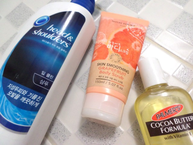 Head and Shoulders, Nature Republic's Pink Grapefruit Body Scrub and Palmer's Cocoa Butter Moisturizing Body Oil