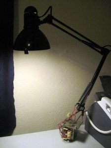 The Hacker Lamp next to its cousin Willy, the Free Printer