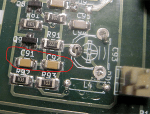 These are the capacitors to remove, c91 and c92