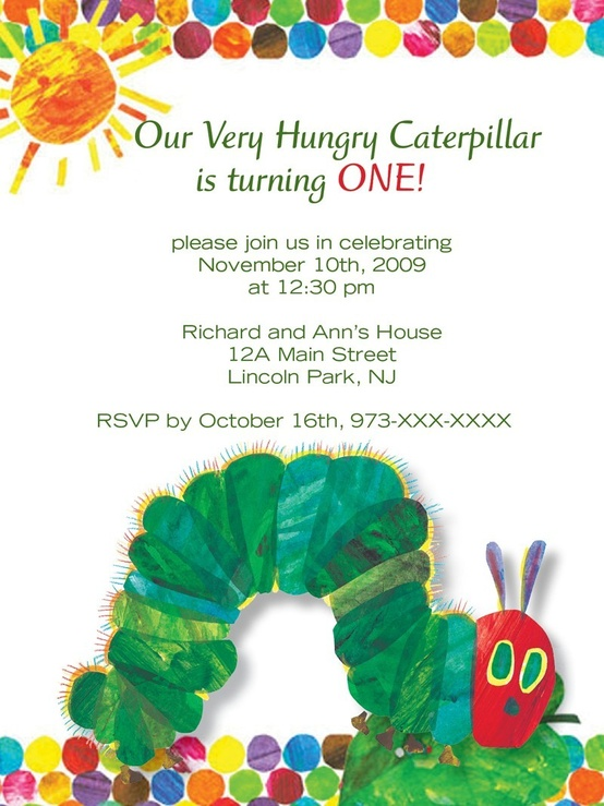 The Very Hungry Caterpillar Invite Ideas Miscellaneous Nerd