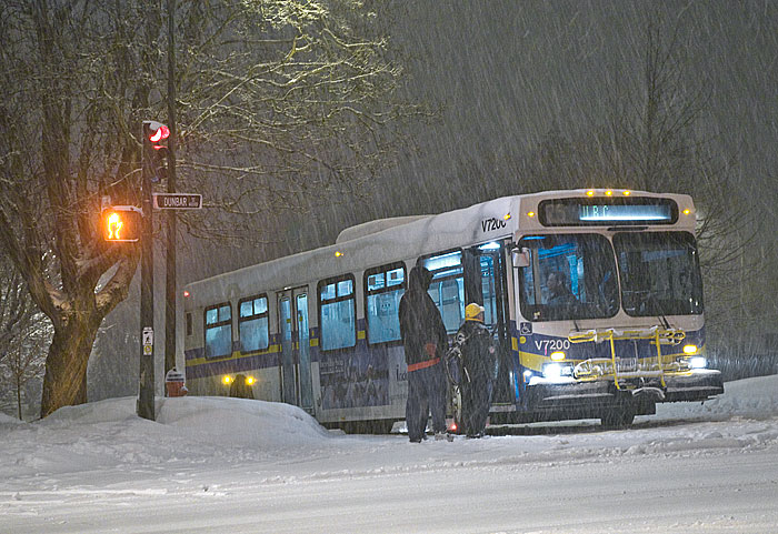 Vancouver transit bus in the snow
