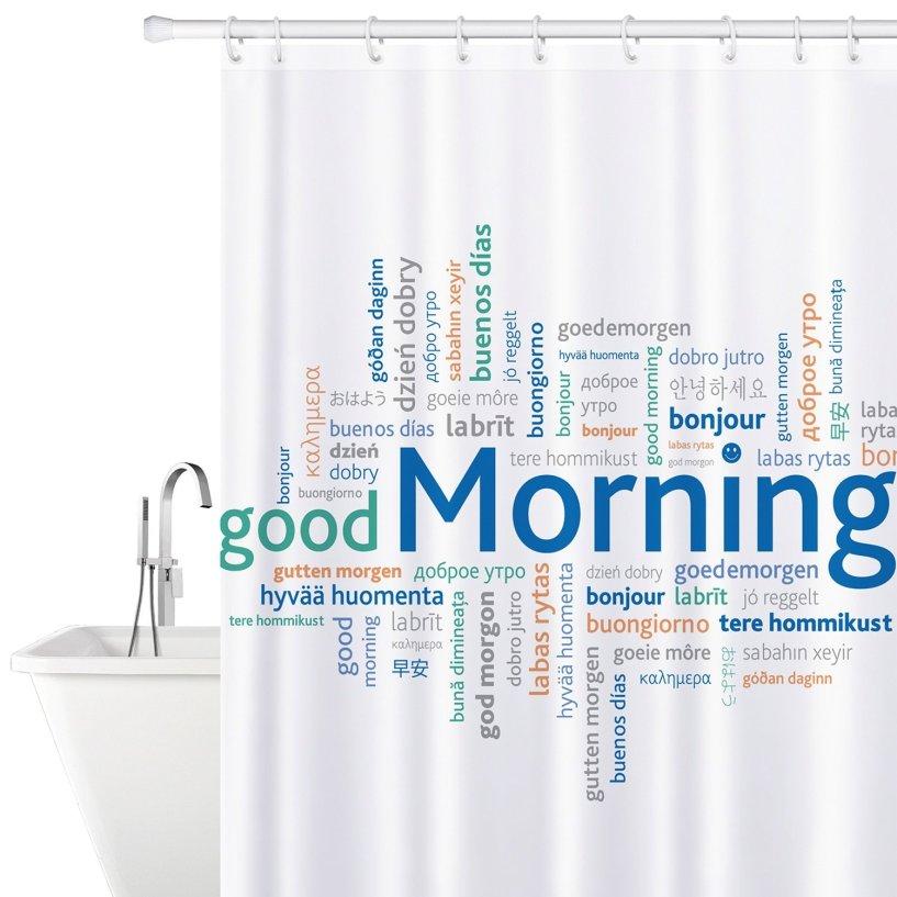Tatkraft Good Morning Stoff Duschvorhang 180x180cm