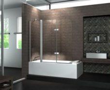 Badewannenabtrennung 150x140 cm, 6 mm Sicherheitsglas, Duschtrennwand, Badewannenspritzschutz