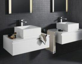 Grohe Eurocube Badmischbatterie hoher Auslauf verchromt freistehende Waschschüssel