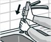 Mischbatterie inkl. Anschlussschläuche einsetzen