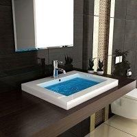 Waschbecken Handwaschbecken Mineralguss 60 cm breit Hochglanz