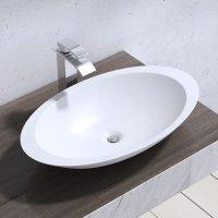 Aufsatzwaschbecken, BTH:59x35x11cm, weiß, Mineralguss, ovale Form