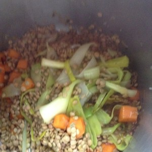 Lentejas suaves con verduras