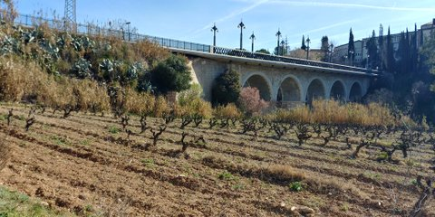 Puente que baja desde la estación de sant Sadurní d'Anoia