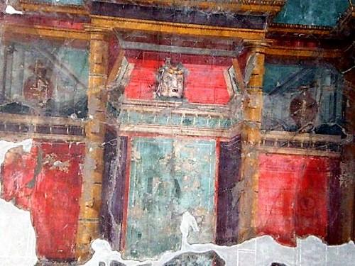 Detalle de pinturas en Villa Popea, cerca de Pompeya