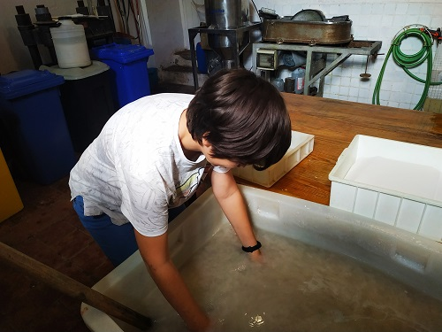 Elaborando papel artesano taller familiar