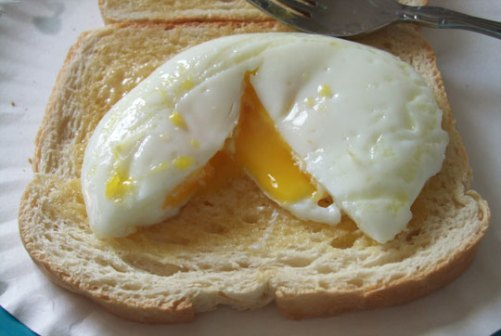Eggs are poached and ready to eat.