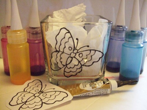 Butterfly candle holder supplies, Pebeo paints, Outliner, Clipart, Stencil