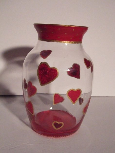 Completed heart vase.