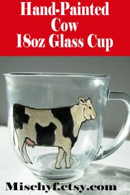 Hand-Painted 18oz Black and White Jersey Cow cup. Found only in the etsy shop Mischyf.etsy.com