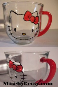 Hello Kitty painted 18oz glass cup. Only found at mischyf.etsy.com