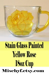 Stain glass hand painted yellow rose 18oz glass cup. Found only at mischyf.etsy.com